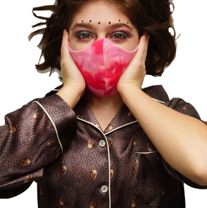 """Pink Tie Dye "" Fashion Cotton Face Mask/Elastic With Filter (CHILD)"