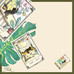 LITTLE BIT 'O LUCK Silk Scarf Neckerchief Tarot Cards Illustrations