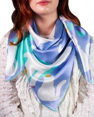 Accessorized Small & Mighty Cat Silk Satin Scarf