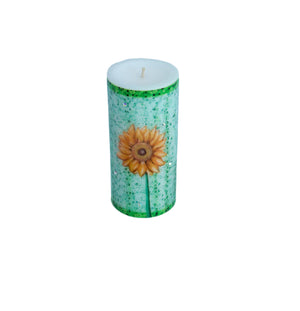 Swarovski Crystals Pillar Candle Sunflower STRENGTH Unscented