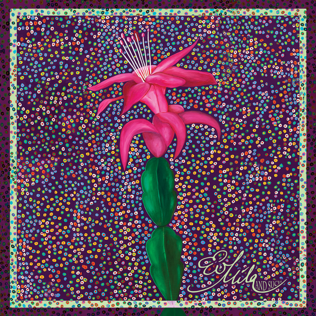 """Birth"" Mother and Child Christmas Cactus Flower Silk Scarf (Royal Amethyst Purple/Bubble Gum Pink Multi)"