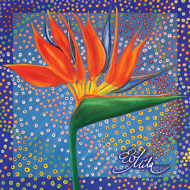 """Cocky"" Bird Of Paradise Flower Silk Scarf (Persian Blue/Firebird Orange Multi)"