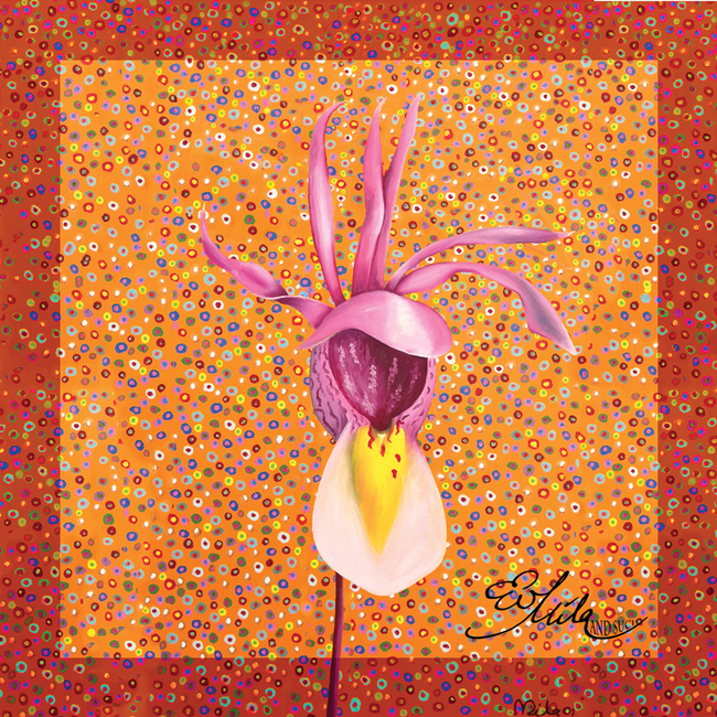 """Calypso"" Wild Orchid Flower Silk Scarf (Tangerine Orange/Bubble Gum Pink Multi)"