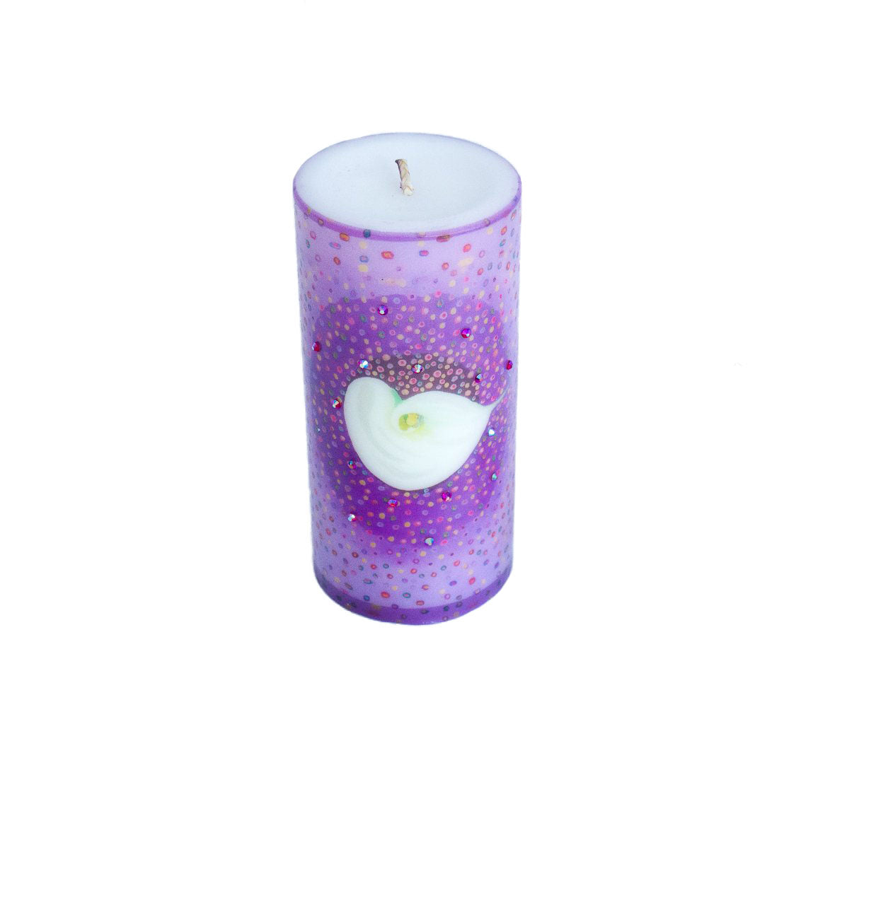 Swarovski Crystals Pillar Candle FLOAT Calla Lily Flower Unscented