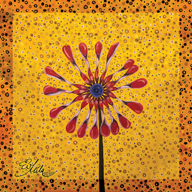 """Playful"" Wild African Daisy Flower Silk Scarf (Meadowlark Yellow/Cranberry Red And Tiger lily Orange Multi)"