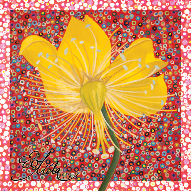 """Bend"" Daisy Flower Silk Scarf (Cherry Tomato Red/ Meadowlark Yellow Multi)"