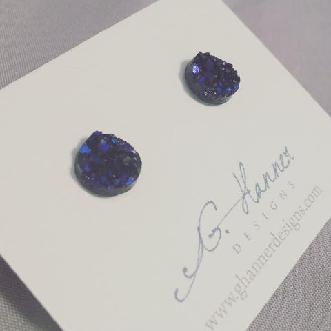 Aurora Druzy Geode Studded Earrings