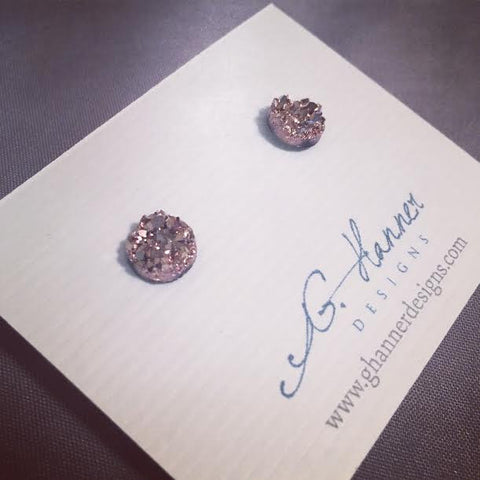 Champagne Druzy Geode Studded Earrings