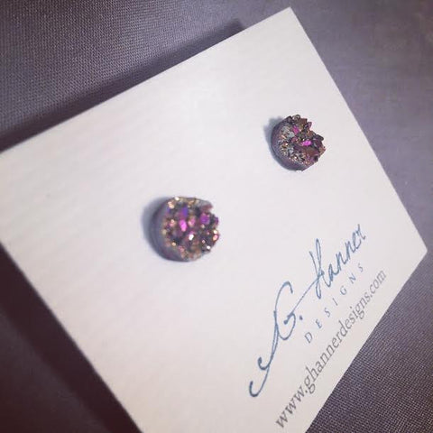 Cosmic Druzy Geode Studded Earrings