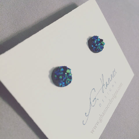 Mermaid Druzy Geode Studded Earrings