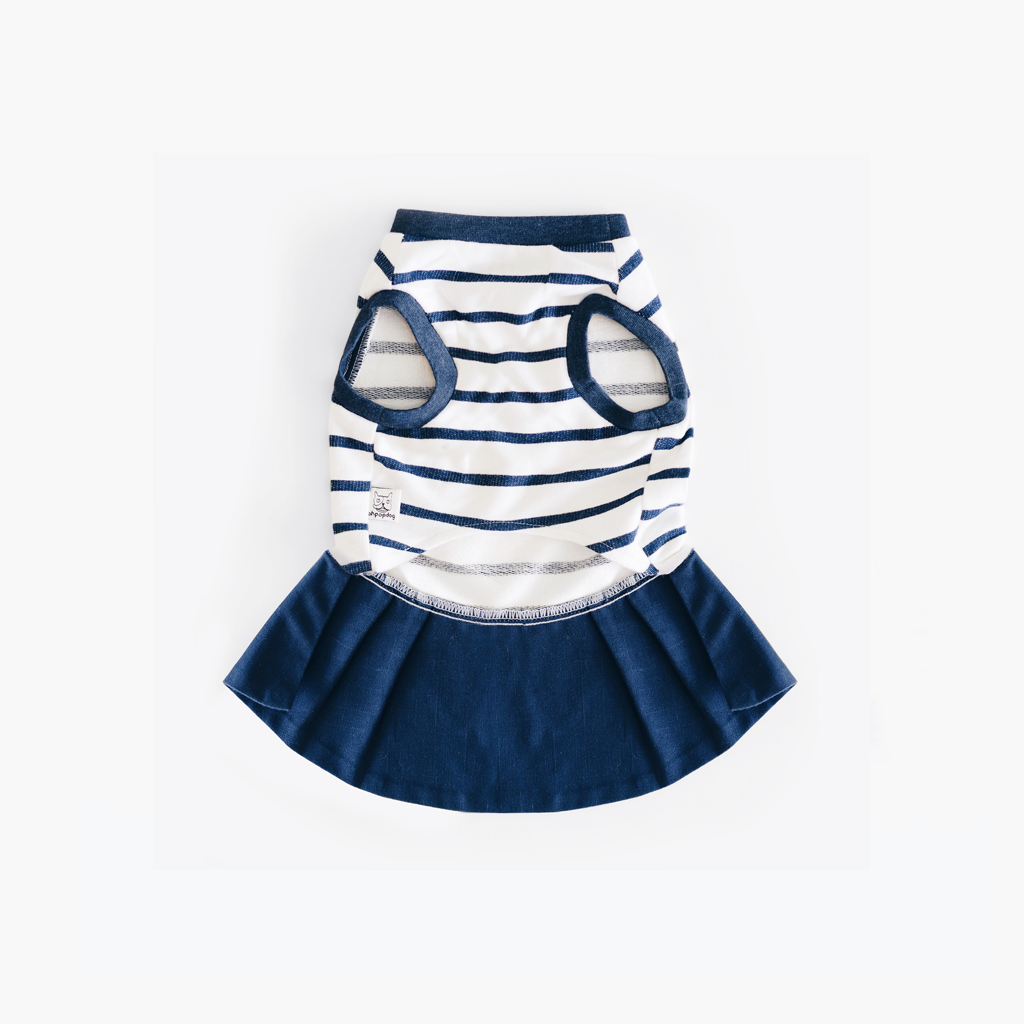 Navy Blue Striped Dress Top, Dog Dress Top, Ohpopdog