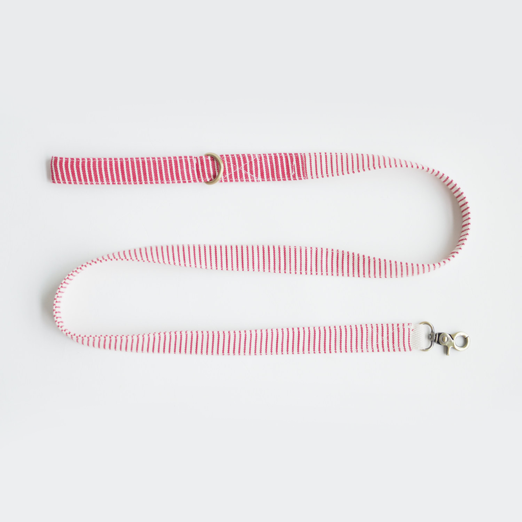 Nautical Red Striped Basic Leash, Dog Leash, Ohpopdog