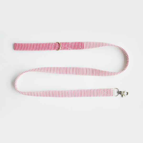 Nautical Red Striped Basic Leash - Ohpopdog