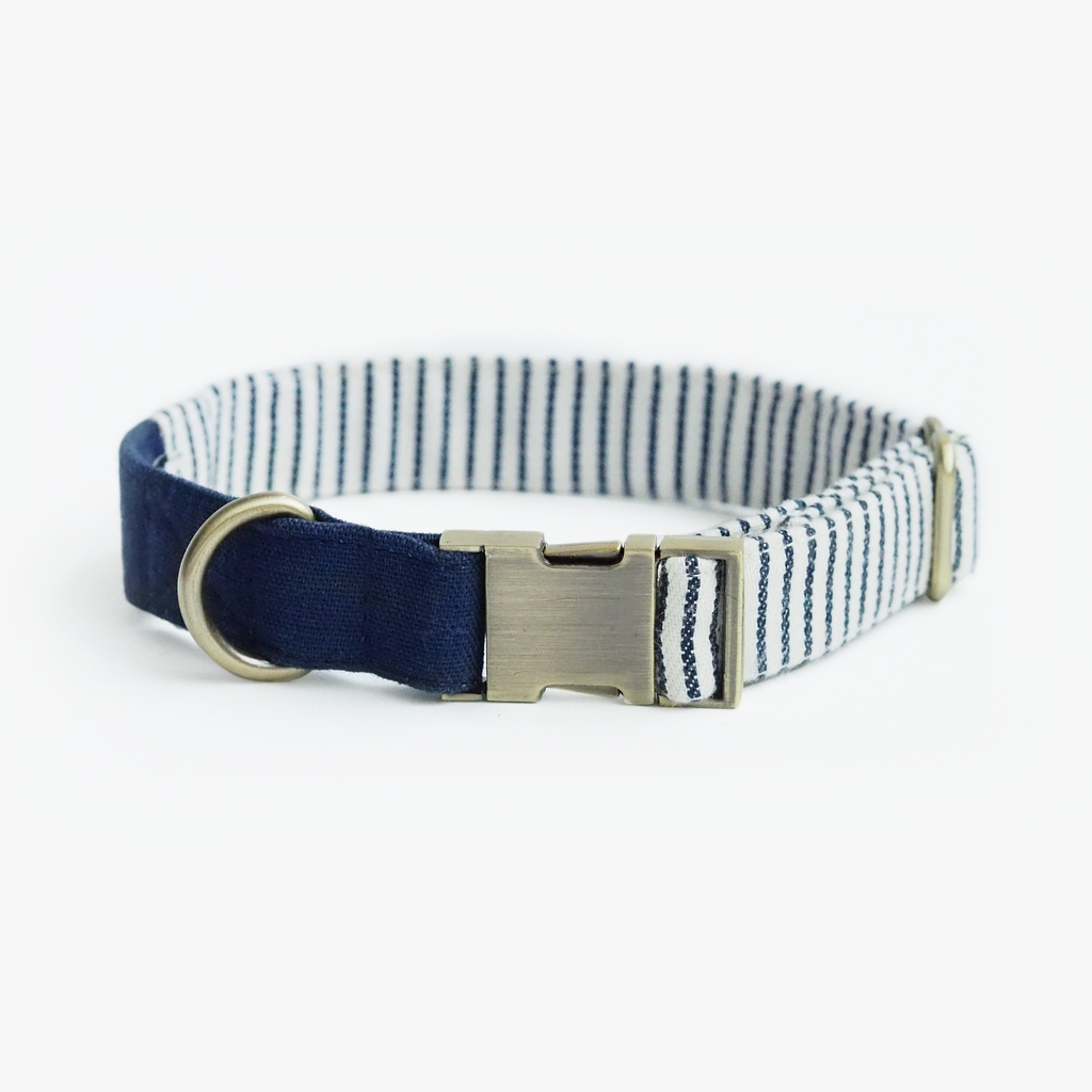 Nautical Blue Striped Collar, Dog Collar, Ohpopdog