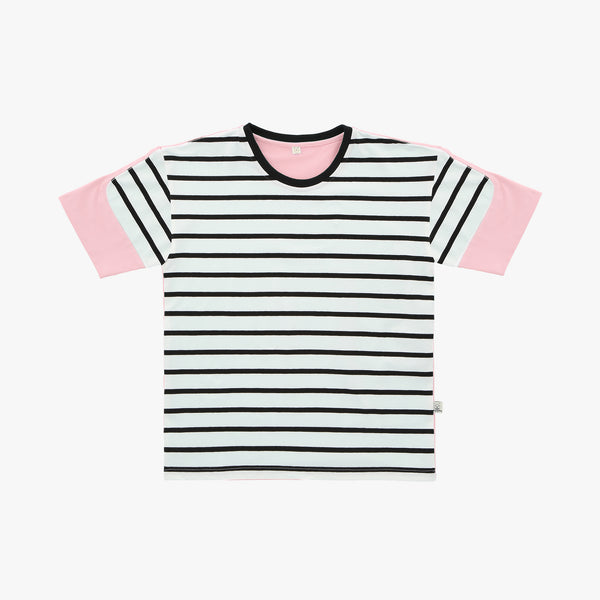 Pink Striped Colorblock Tshirt - Human - opdsg