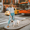 Blue Linen Striped Tshirt, Dog Human, Ohpopdog