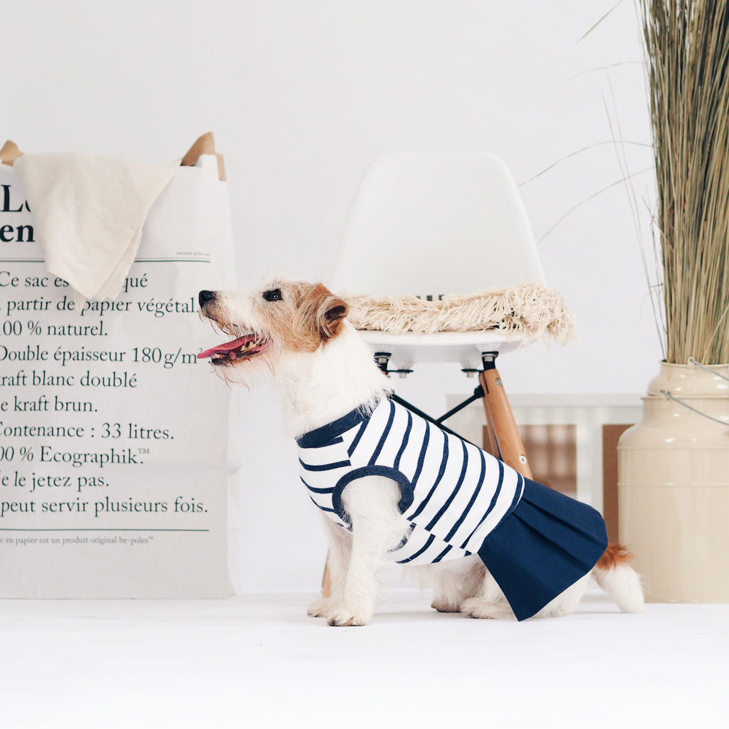 Dress with Pleated Skirt, Dog Dress Top, Ohpopdog