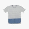 Blue Linen Grey Striped Tshirt - Human - opdsg