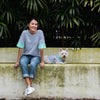 Pink Grey Striped Colorblock Tshirt, Dog Human, Ohpopdog