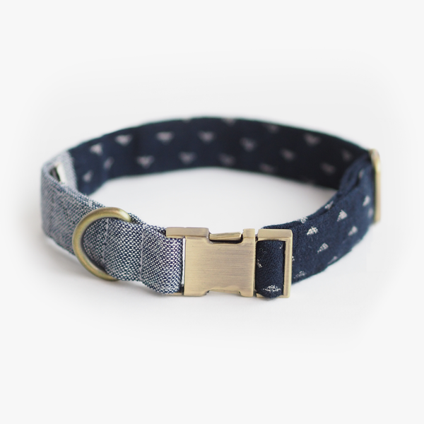 Indigo Denim Collar, Dog Collar, Ohpopdog