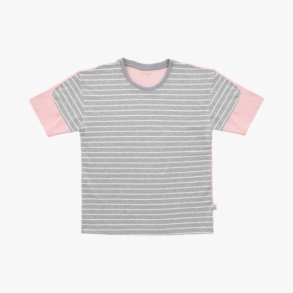 Pink Grey Striped Colorblock Tshirt - Human - opdsg