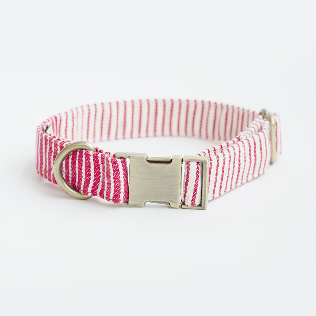 Nautical Red Striped Collar, Dog Collar, Ohpopdog