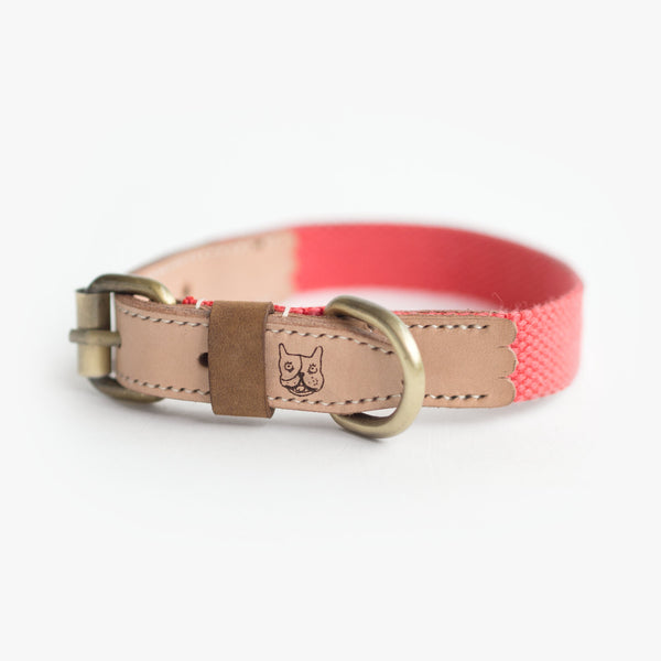 Salmon Hemp Leather Collar, Dog Collar, Ohpopdog
