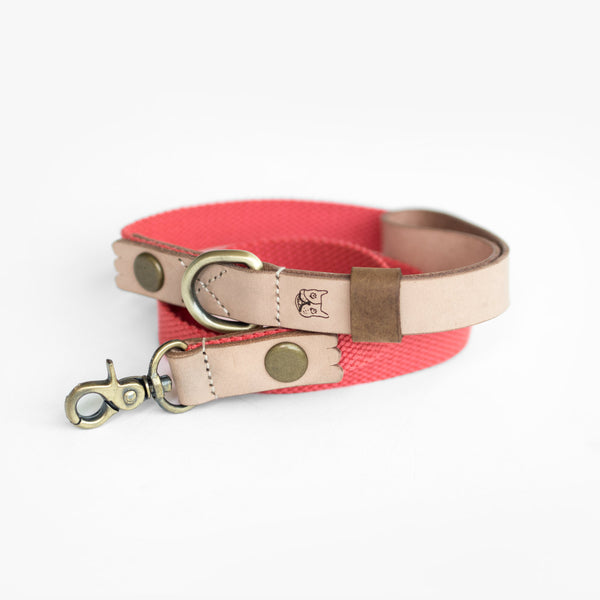 Salmon Hemp Leather Leash, Dog Leash, Ohpopdog