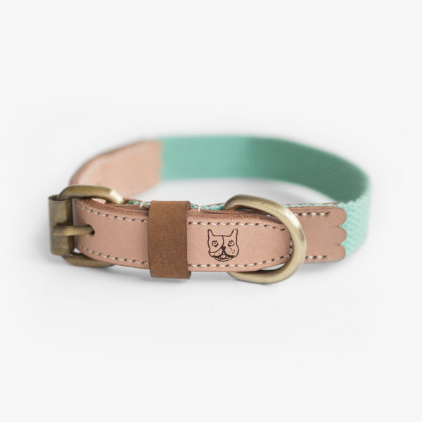 Mint Green Hemp Leather Collar, Dog Collar, Ohpopdog