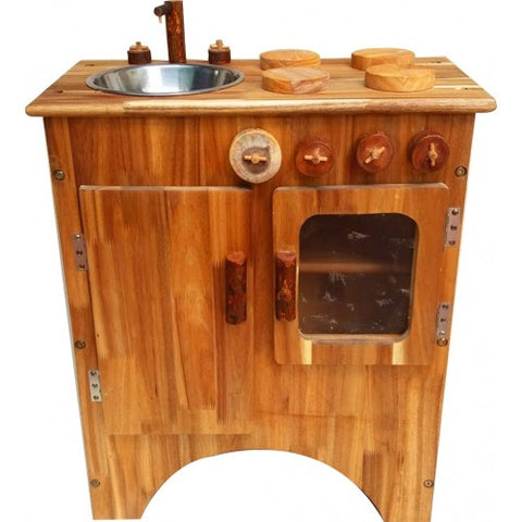 Natural Wooden Stove and Sink Combo