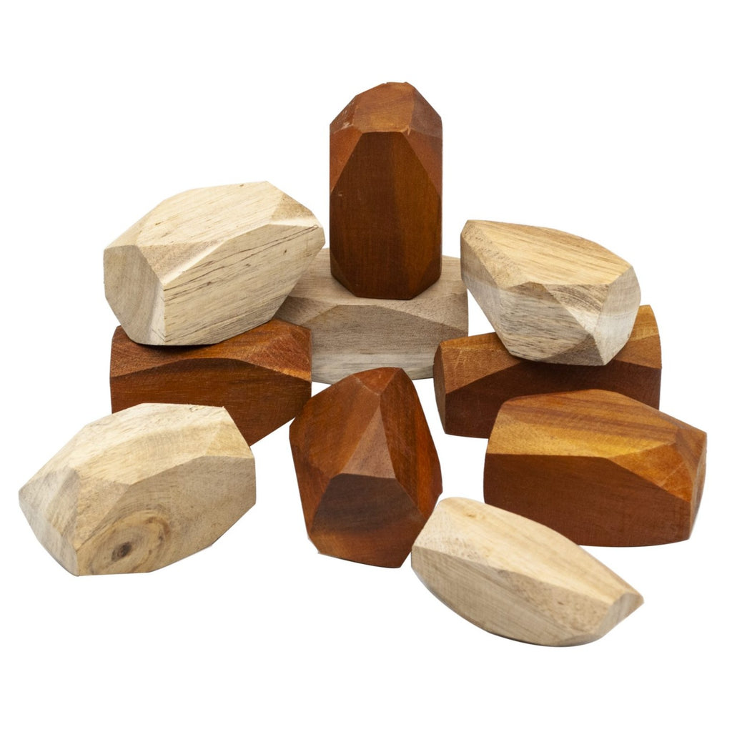 Two-toned wooden gems