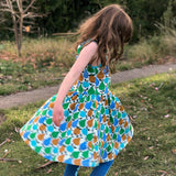 Organic Cotton Fruits Dress - Turquoise/Green