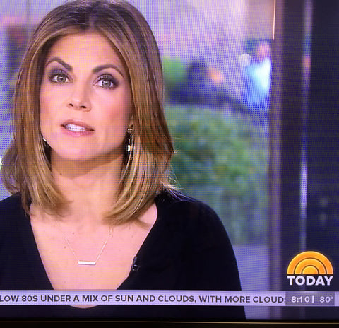 Natalie Morales wearing Emma Winston NY pave bar necklace on NBC Today Show