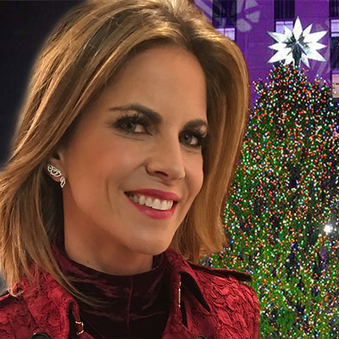 Natalie Morales at the NBC 2015 Christmas Tree lighting, wearing Emma Winston Floating Earrings