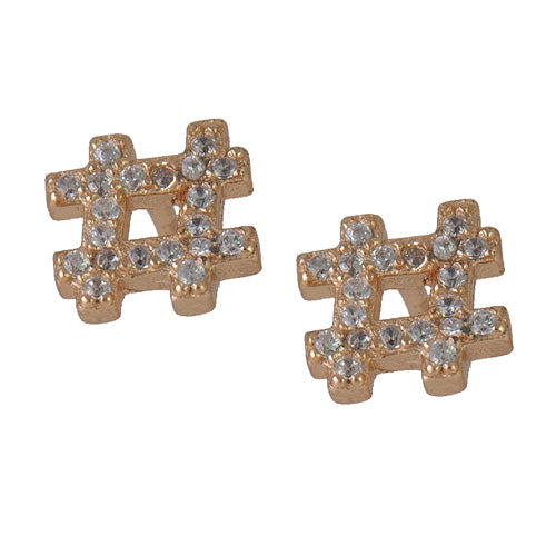 diamond hashtag studs