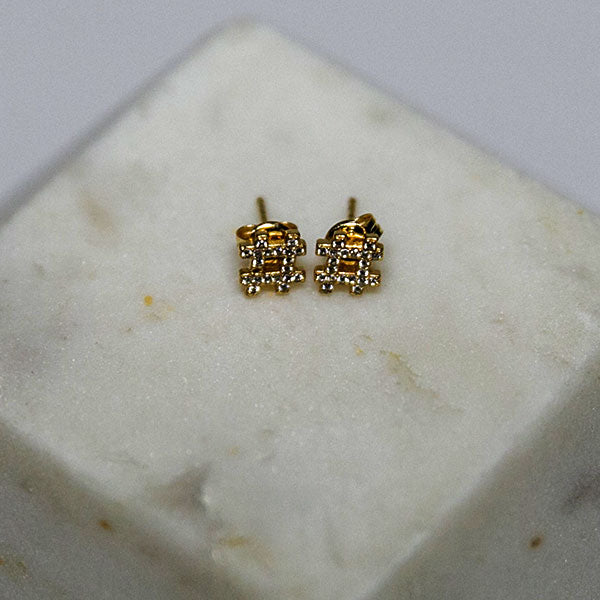diamond stud hashtag earrings