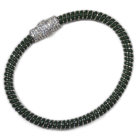 Italian Chain & Green Leather Bracelet -  Emma Winston - Green - 1