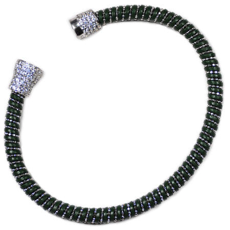 Italian Chain & Green Leather Bracelet -  Emma Winston -  - 2