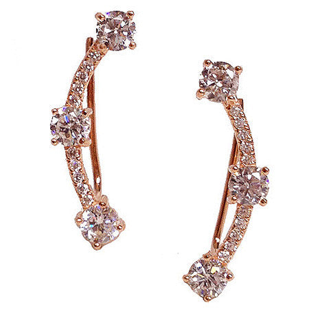 Three Stone and Pavé Crawler -  Emma Winston - Rose Gold - 1