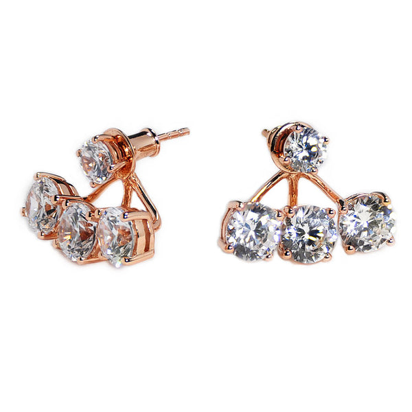 Triple Stone Earring Jacket -  Emma Winston - Rose Gold - 1