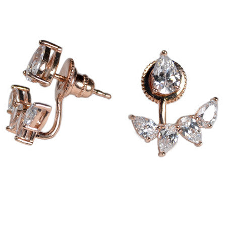 Marquise Stud and Earring Jacket -  Emma Winston - Rose Gold - 3