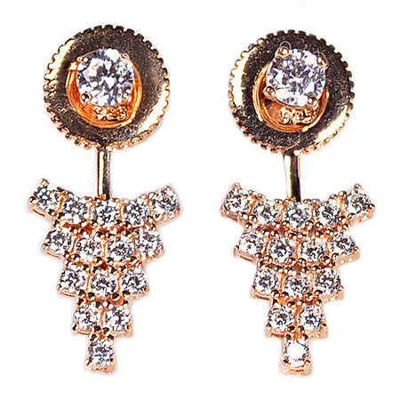 Triangular Cluster Earring Jacket -  Emma Winston - Rose Gold - 5