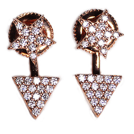 Star Stud & Triangle Pavé Earring Jacket -  Emma Winston -  - 1