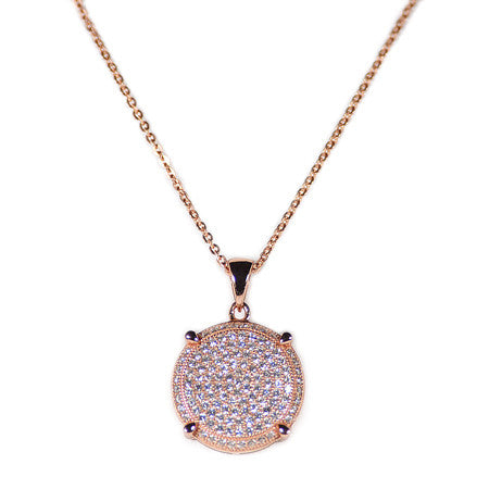 Round Pavé Necklace -  Emma Winston - Rose Gold - 1