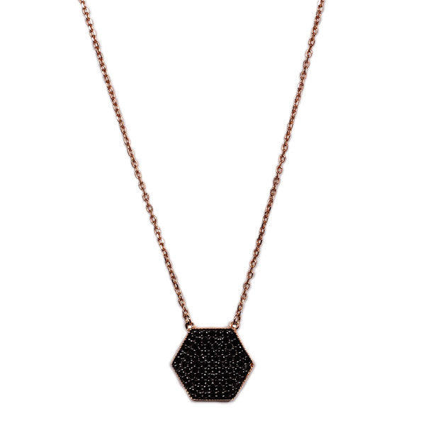 Black Hexagon Pavé Necklace -  Emma Winston - Rose Gold - 1