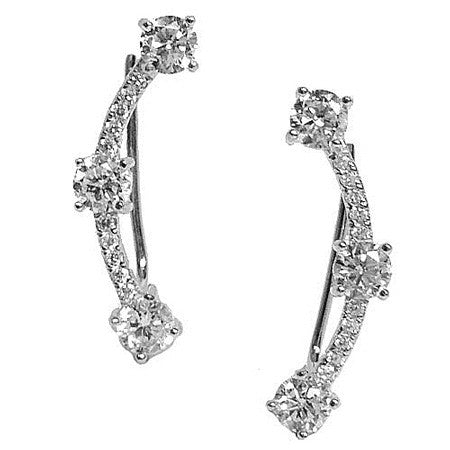 Three Stone and Pavé Crawler -  Emma Winston - White Gold - 4