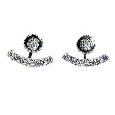 Crescent Earring Jacket -  Emma Winston - White Gold - 1