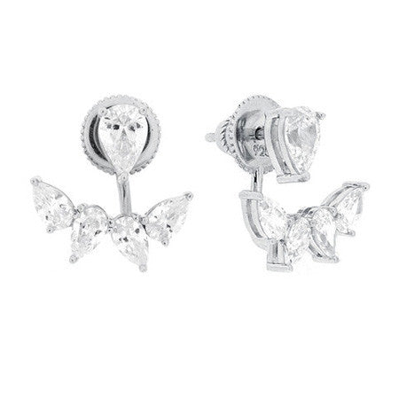 Marquise Stud and Earring Jacket -  Emma Winston - White Gold - 1