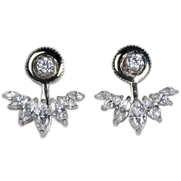 Round Stud and Marquise Earring Jacket -  Emma Winston - White Gold - 2