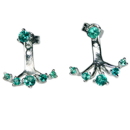 Five Stone Colored Drop Earring Jacket -  Emma Winston - Green Stones - 2